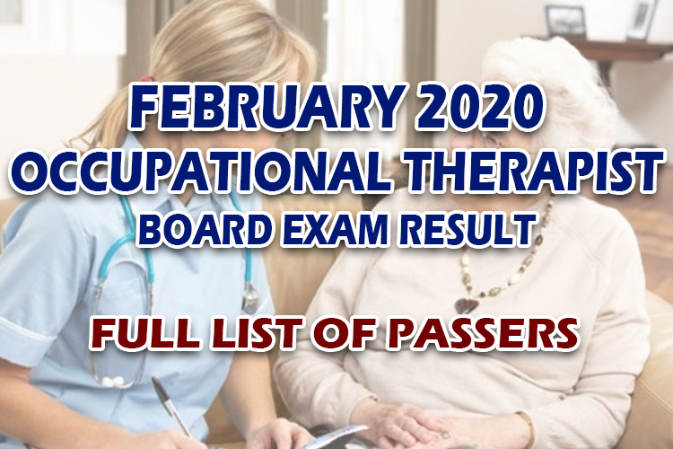 Occupational Therapist Board Exam Result February 2020