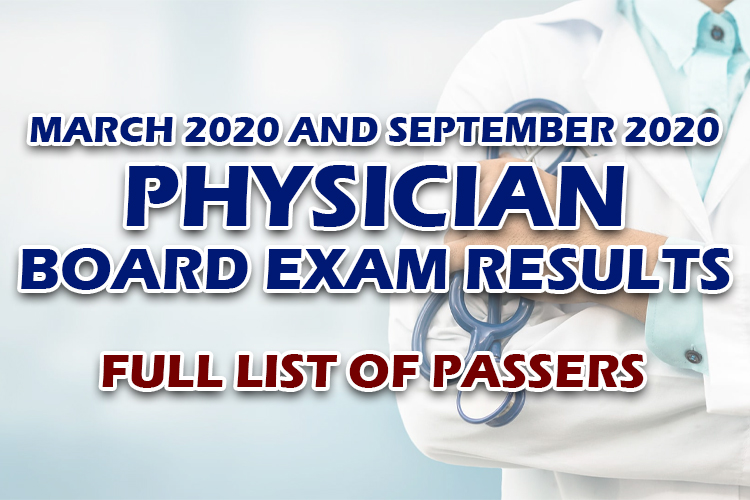 Physician Board Exam Results full list
