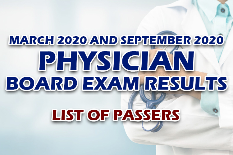 Physician Board Exam Results list of passers
