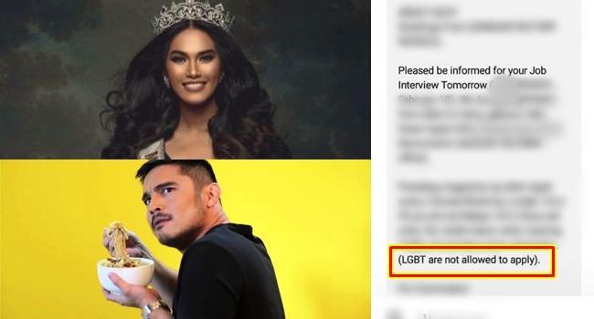 Marvin Agustin called out on job posting banning LGBT