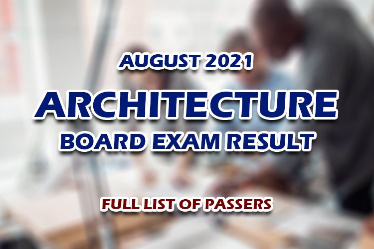 Architecture Board Exam Result August 2021 FULL LIST