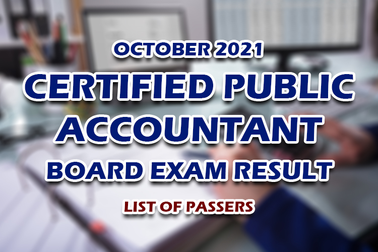 CPA Board Exam Result October 2021 LIST OF PASSERS